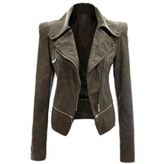 Women's Women Fashion Slim Fit Biker Short Faux Leather Coat Jacket ($19) ❤ liked on Polyvore featuring outerwear, jackets, army green, biker jackets, green camo jacket, vegan biker jacket, slim biker jacket and vegan jackets