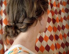 braid into messy bun--TRY--looks like my hair (length and thickness)