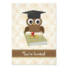 Shop Cute owl, mortar, diploma Graduation Party Invite created by IrinaFraser. Kindergarten Graduation, Preschool Kindergarten, Owl Theme Classroom, Graduation Party Invitations, Templates Printable Free, Cute Owl, White Envelopes, Invite, Invitation Ideas