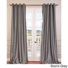 Exclusive Fabrics Textured Dupioni Faux Silk Grommet 84-inch Blackout Grommet Curtain Panel Provençal blue Need two sets $44
