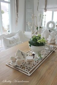 White and green decorations