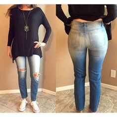 Faded Distressed Jeans Sold out on Nasty Gal. Available in S & M. Brand new with tags. Classic five-pocket design, front and back fading, distressed crease detail, and holes at front. Relaxed fit. They're more laid back than a surfer in tiki bar. Pair them with a distressed tee and a blazer.  *Cotton  *Runs true to size  *Model is wearing smallest size available  *Hand wash cold  *Imported Jeans Straight Leg