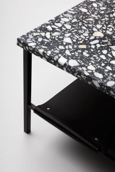 Love this terrazzo table. With a black epoxy mix and white aggregates, you can turn terrazzo into any product Learn more about terrazzo at www.terrazzco.com