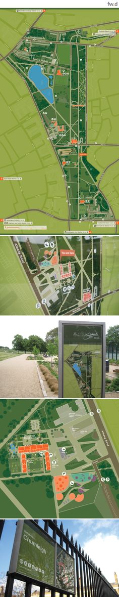 Heads up mapping and fwd product design bring pedestrian wayfinding solution to Burgess Park, London, by consultants fwdesign.  www.fwdesign.com