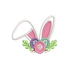 Home :: Design Packages :: Floral Bunny Ears Applique Applique Embroidery Designs, Machine Embroidery Applique, Embroidery Files, Bunny Face, Monogram Frame, Easter Bunny, Floral, Etsy, Stitches