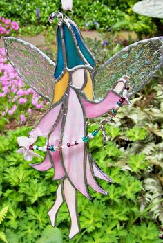 Stained glass pink fairy sun catcher. Garden fairy by ClearerImage, $32.00