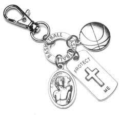 BASKETBALL Athletes Patron St. Sebastian Catholic Holy Medal Protect Me Charm Backpack Clip Zipper Pull Lobster Clasp, Protection St Sebastian, Patron Saints, Lobster Clasp, Athletes, Catholic, Basketball, Backpacks, Zipper, Personalized Items
