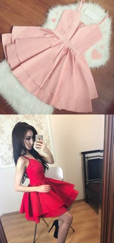 A-Line Spaghetti Straps Short Pink Satin Homecoming Dress with Pleats Sweet 16 Dresses, Sweet Dress, Pretty Dresses, Sexy Dresses, Dress Outfits, Short Dresses, Fashion Dresses, Cute Outfits, Formal Dresses