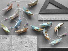 Girlanden & Wimpelketten - Faltschiffchen-Girlande Papier-Girlande - ein Designerstück von brummelbeer bei DaWanda