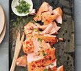 Salmon With Sriracha Sauce and Lime: Recipes: Self.com : This is one of my go-to recipes when I can't think of what to make for dinner. The fish is topped with cilantro, but it's also great with pickled ginger. #SELFmagazine