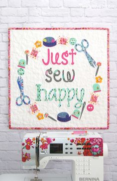 Just Sew Happy, Mini Quilt pattern by Tied with a Ribbon, Tula Pink fabrics, Tula Pink Slow and Steady