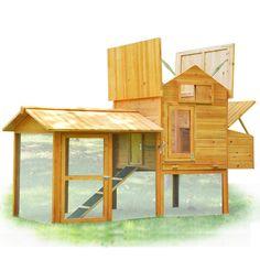 Poultry Coop Wood Hen Chicken House Nest Box Run
