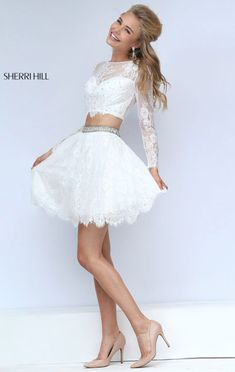 Sherri Hill 50073 Long Sleeved 2016 Two-Piece Ivory Beaded Short Prom Dresses