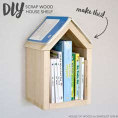 Got scrap wood?  Make this easy DIY house bookshelf.