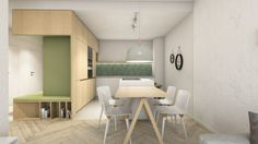 Návrh predsiene - interiér Slnečnice, Bratislava - Interiérový dizajn / Hall interior by Archilab Bratislava, Office Desk, Corner Desk, Entrance, Dining Room, Kitchen, House, Furniture, Home Decor