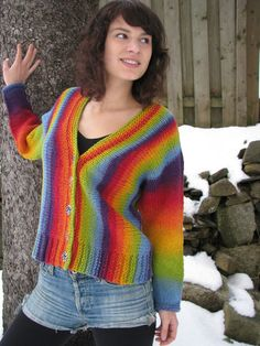 The Venus Rising pattern was created with Kauni Yarn in mind. Holding the yarn tripled (Navajo-ply), this cardigan grows quickly from one side to the other. The colourway chosen creates a unique garment.