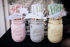 BeachBlues Pastel Wedding - Vase - Straw Holders - Centerpiece - Decor - Painted and Distressed Mason Jars Wedding Vases, Diy Wedding Favors, Rustic Wedding, Wedding Decorations, Wedding Ideas, Wedding Inspiration, Wedding Stuff, Distressed Mason Jars, Painted Mason Jars