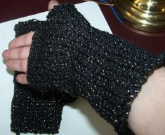 Fingerless Gloves Mittens Black Sparkly Hand Knit by NovaBlondie