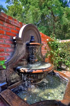 Front Patio: Spanish style, Spanish architecture, old world style, European arch… - Modern Landscaping With Fountains, Spanish Architecture, Arch Architecture, Indoor Water Features, Indoor Fountain, Spanish Style Homes, Spanish Colonial, Patio Wall, Mediterranean Home Decor