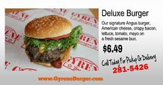 Gyrene Deluxe Burger Our signature Angus burger, American cheese, crispy bacon, lettuce, tomato, mayo on a fresh sesame bun. $6.49  ************************************************* Order Online Now ➡️    www.GyreneBurger.com 281-5426   #Happy1stYear #GyreneBurger1stYear #burger #knoxville #burgers #fortsanders #tennessee #cumberland #Gyrene #LocalKnoxvilleEvent  #knoxvillebestburger #gyreneburgerkx #gyreneburger #burgerrestaurant #knoxvilleburgerrestaurant #knoxvilleburger…