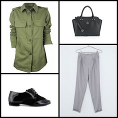 Celina Khaki Button Utility #Shirt #5fashionuk ~~ SANDRA-FONTAN-MULAN @krackonline ~~ MELISSA WINGED HANDHELD #BAG @accessorizeespa @accessorizegb ~~ Checked jogging #pants @bershka ~~.