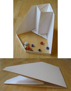 An easy opening dice tower, folds compact for storage, ready to use in seconds. Geek Crafts, Diy And Crafts, Paper Crafts, Tabletop Rpg, Tabletop Games, Paper Tower, Rpg Map, D&d Dungeons And Dragons, Dungeons And Dragons Accessories