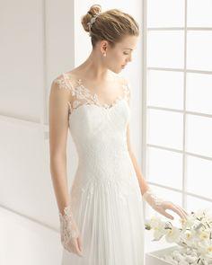 DUNCAN traje de novia en encaje y muselina de seda.