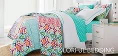 Shop Pottery Barn Teen for all your teen bedding needs! Browse our collection of sheets, duvets, pillow, throws and more and create a cool and unique bedroom. Teen Bedding, Teen Bedroom, Colorful Bedding, Pb Teen, Pottery Barn Teen, Dorm Rooms, Furniture Decor, Comforters, Blanket