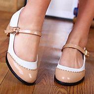 Women's Shoes Round Toe Chunky Heel Flats with Bu... – USD $ 29.99