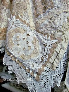 Layers and Layers of Collaged Lace and Doilies 2019 Layers of Collaged Vintage Lace and Doilies to create a Quilt The post Layers and Layers of Collaged Lace and Doilies 2019 appeared first on Lace Diy. Doilies Crafts, Lace Doilies, Doily Art, Vintage Textiles, Vintage Quilts, Antique Quilts, Antique Lace, Vintage Lace, Vintage Heart