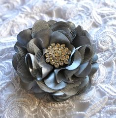Satin flower clip or pin with large by TutusChicBoutique on Etsy, $18.00