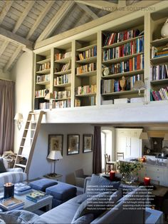 20 cozy home libraries that will make book lovers drool Lofted bookshelves Cozy Home Library, Dream Library, Sweet Home, Home Libraries, Public Libraries, Deco Design, Design Design, Home And Deco, Cozy House