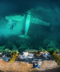 This is airplane is 35ft underwater in Morrison Quarry, Canada@szetoszeto drone photography