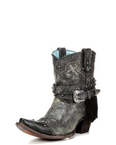 Corral Women's Silver Fringe Studded Ankle Boot - C2879 http://www.countryoutfitter.com/products/108672-womens-fringe-studded-ankle-boot-silver