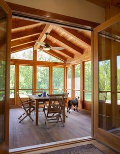 Three season attached porch Screened Porch Designs, Screened Porches, Cabin Porches, Enclosed Porches, Front Porch, Four Seasons Room, Three Season Porch, Sunroom Addition, Family Room Addition
