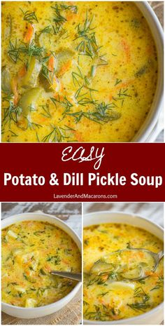 This easy stove top Potato & Dill Pickle Soup is loaded with cozy flavors yet uses everyday ingredients. If you're looking for a satisfying but light soup idea to warm you on a chilly winter night, this meatless recipe will not disappoint. Stove Top Potatoes, Vegetarian Recipes, Cooking Recipes, Lowfat Soup Recipes, Simple Soup Recipes, Crockpot Recipes, Keto Recipes, Light Soups, Creamy Potato Soup