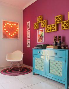 colorful decor, cobogó