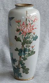 Antique Japanese Cloisonne Enamel Vase with Bird chrysanthemums this is very stylish and doesn't detract even though there is alot of background. I love when powdered glass is used in this way.