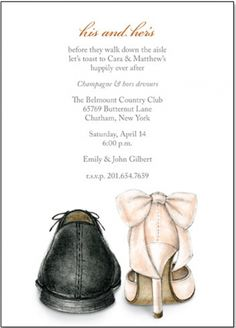his and hers wedding shoes invitation by Ann Scott from sweetpaperlane.com
