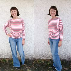 Striped long sleeved top length version of the Dolores batwing pattern by Zoe (So Zo)