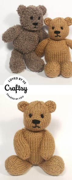 These knitted teddy bear stuffed animals are too cute. It's from a maker just like you! Click to ask questions, show the project some love and even find the same pattern they used.