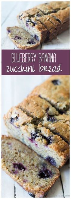 Blueberry Banana Zucchini Bread: a delicious bread that is perfectly moist and bursting with flavor. Blueberry Banana Zucchini Bread: a delicious bread that is perfectly moist and bursting with flavor. Köstliche Desserts, Delicious Desserts, Dessert Recipes, Yummy Food, Tapas Recipes, Seafood Recipes, Oreo Dessert, Dessert Bread, Dessert Drinks