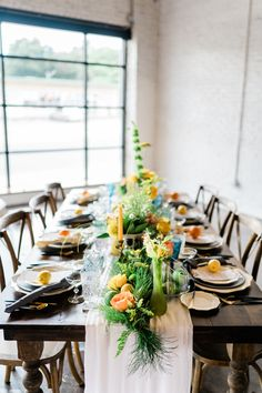Our White Graceful Table Runner brings a bright color to this summer shoot. Just Save The Date