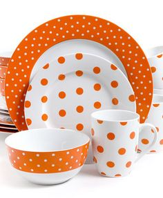 Isaac Mizrahi Dots Luxe Orange 16-Pc. Set, Service for 4
