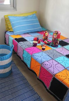 All the colors along with the crochet design of this Crocheted Filet Starburst Patchwork Blanket are simply beautiful. Use a similar color scheme as the one here or match the decor of your home.