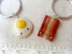Bacon and eggs friendship keychains bacon by ClayCreationsForEver