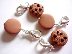 Crochet stitch markers: chocolate chip cookies for crochet, cookie stitch markers, sculpted polymer clay