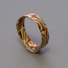 Mokume Gane Ring - handmade ring made with three metals (sterling silver, copper, brass) that are joined together into one single unit while keeping their own characteristics.