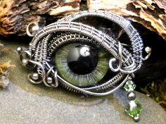 Sterling Silver Evil Eye Brooch Pin Green Steampunk.  Twisted Sister Arts