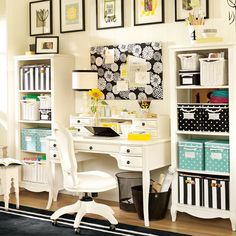 Love the polka dot & stripe bins with pictures high on the wall-like I have all the space in the closet.